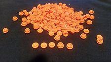 New Lego Lot Of  200 1X1 Round Plates Orange Caps Dots