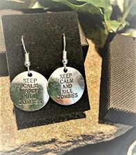 """Handmade """"Keep Calm And Kill Zombies"""" Silver Plate Earrings (Pair) Gift Boxed"""