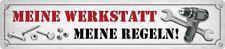 MEINE WERKSTATT MEINE REGELN ! Straßenschild Magnet aus Blech 16x3,5 cm STR-M 28