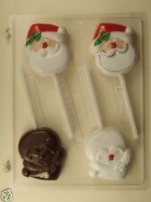 SANTA FACE LOLLIPOP CLEAR PLASTIC CHOCOLATE CANDY MOLD C170
