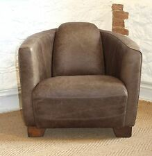 Vintage Leather Rocket Aviator Tub Chair in Antiqued Brown Leather