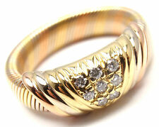 Rare! Authentic Cartier 18k Tri-Color Gold Diamond Band Ring Size 50 US 5 1/4