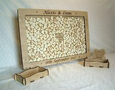 Personalised Wedding Drop Box Oak Frame Guest Book Will Hold 60 to 240 Hearts mb