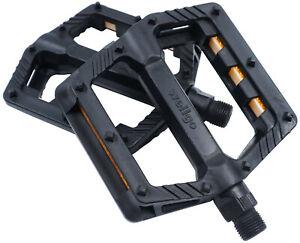 "Wellgo B239DU Resin Platform Pedals 9/16"" Black Mountain Bike BMX Composite flat"