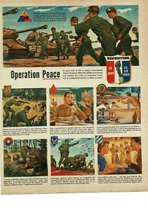1950 U. S. ARMY Recruiting Recruitment Armored Infantry patches art Vintage Ad