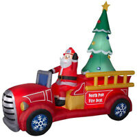 Santa Fire Truck North Pole Christmas Airblown Inflatable 2019 new 9 ft tall