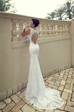 New white ivory lace mermaid wedding bridal dress custom size 6 8 10 12 14 16 18