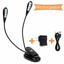 2 Dual Arm Flexible 4 LED Piano Music Stand Light Clip-on Desk Lamp Book Light