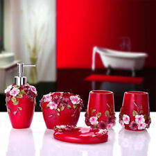 5pcs Bathroom Accessory Set Red Resin Soap Dish Dispenser Toothbrush Holder