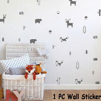 Nordic Style Forest Animal Wall Decals Woodland Kids Moden Art Stickers Decor