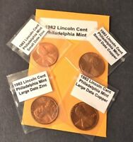 1982 P D S LINCOLN CENT 8 COIN SET COPPER/ZINC LARGE & SMALL DATES GEM BU+PROOF