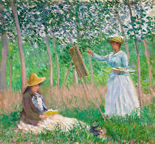 Art Oil painting Monet - Young women artist doing work in Giverny forests