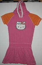 HELLO KITTY - EMBELLISHED  WITH BEADS & SEQUINS 100% COTTON DRESS WITH HOOD - L