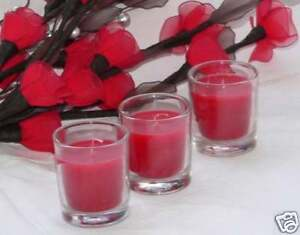 50 Wedding Romantic Party Table Room Votive Party Red Wax Glass Holders Candle