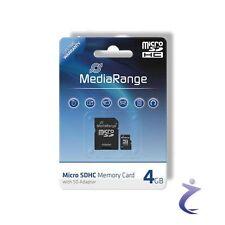 MediaRange 4GB Mobile Micro SDHC Flash Speicherkarte Class 4 + SD Card Adapter