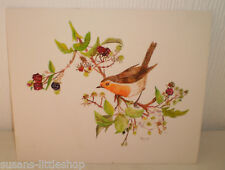 Original Watercolours Vintage Painting Picture Red Breasted Robin Bird Flowers