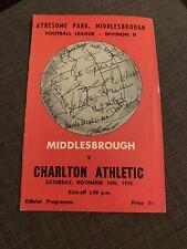 1970 Middlesborough V Charlton Athletic Football Programme