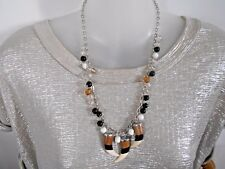 Brown Black Cream 3 Horn and Beads on Chain Necklace