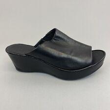 Jones Bootmaker Black Leather Slip On Open Toe Wedge Mules Sandals Shoes 38 UK 5
