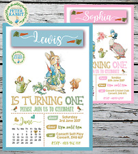 10 PERSONALISED PETER RABBIT FIRST 1ST BIRTHDAY PARTY INVITATIONS INVITES + ENV