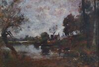 Antique Landscape, French River Oil Painting, Maurice Lévis (1860-1940)