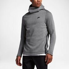 2017 NIKE TECH FLEECE PULLOVER HOODIE Carbon Heather Grey Black Size M Chest 42""