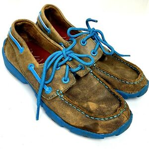 Twisted X Casual Shoes Kids Moccasin Lace Bomber Blue YDM0016 Size 1.5 M Youth