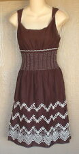 Max Studio S Brown White Embroidered A-Line 100% Cotton Knee Length Sun Dress