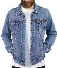 Mens Denim Jacket Premium Jeans Slim Fit Trucker Jacket Ripped Denim Jean Jacket