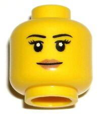 LEGO CITY GIRL MINIFIGURE HEAD Peach Lips Black Eyebrows Smile Eyelashes 60082