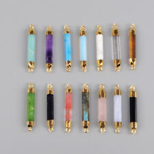 Clearance RANDOM 1 Pcs Terminated Point Mixed Stone Connector Gold Plated BG0993
