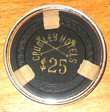 (1) $25. CRUMLEY Hotels Casino Chip - 1950s - Elko, Nevada