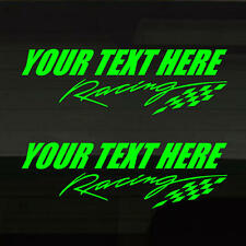 "Set of 2! Racing or Race Team Add Custom Text YELLOW-GREEN Decal Stickers 12""x4"""