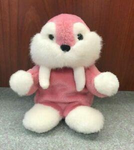 "Vintage GUND Pink Mooky the Walrus 6"" Mini Bean Bag Stuffed Plush - EUC"