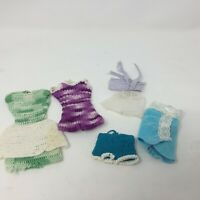 Vtg Barbie Doll Clone Clothes Homemade Sewn and Crochet Dress Shorts Romper