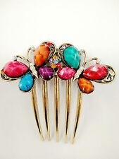Twin Butterfly Multi Color Bead & Multi Rhinestone Antique Alloy Gold Hair Comb