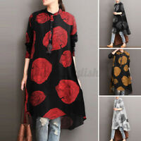 UK Womens Long Sleeve Casual Loose Cotton Kimono Shirt Top Blouse Dress Pullover