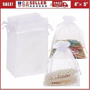 """WHOLESALE White Sheer Organza Wedding Party Favor Gifts Candy Bags Pouches 4""""X5"""""""