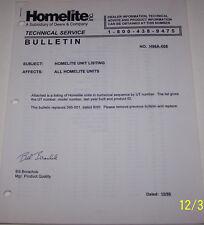 HOMELITE TECHNICAL SERVICE BULLETIN, COVERS ALL HOMELITE UNITS