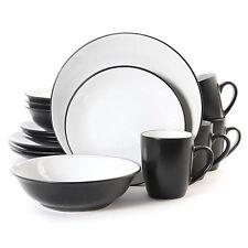 16 PIECE GIBSON VIDENDI DISH DINNER DINNERWARE SET BLACK and WHITE SERVICE for 4