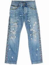 Dolce & Gabbana Ladies Jewel Studded Distressed Light Wash Jeans SZ. M