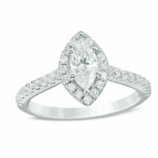 1.20 ct Marquise Shape White Diamond Halo Wedding Proposal Ring Sterling Silver