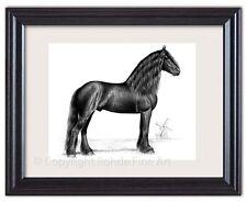 Friesian Stallion baroque black horse Framed Art gorgeous portrait Netherlands