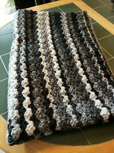 """Crocheted Black and Gray Blanket home made, 37"""" by 54"""""""