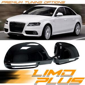 2x Glossy Black Mirror Cover Caps For Audi A3 A4 B8 A5 A6 Q3 8U W/ Lane Assist