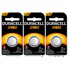 3 x 2450 Duracell Lithium 3V Coin Cell Batteries (CR2450, DL2450, ECR2450)