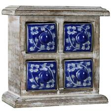 Desktop Chest of 4 Drawers Box Boxes Tabletop Jewelry Jewellery Decorative - Blu