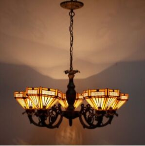 Tiffany Style Chandelier 5 Arms Vintage Hanging Handcrafted Light Stained Glass