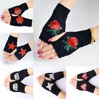 Women Soft Fingerless Gloves Mittens Knitted Winter Warm Diamond Gloves 1Pair