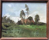 Heinz Bochmann 1921-2011 Olio Nordica Paesaggio con Tilsiter Kate Mar Baltico